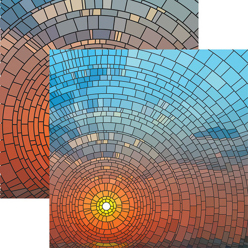 Ella and Viv Paper Company - Stained Glass Collection - 12 x 12 Double Sided Paper - Sunset