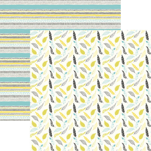Ella and Viv Paper Company - Bohemian Collection - 12 x 12 Double Sided Paper - Boho Feathers