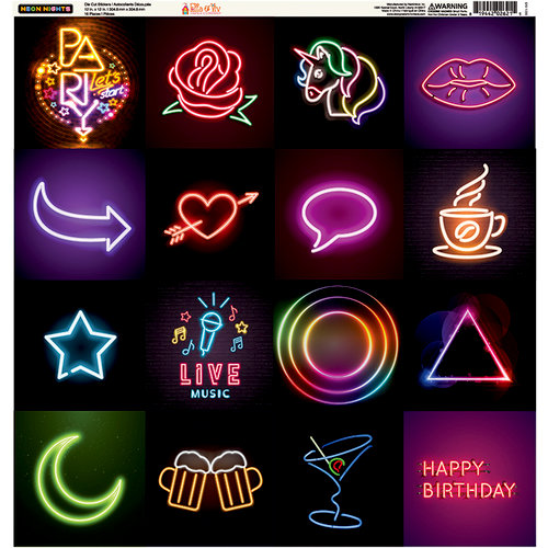 Ella and Viv Paper Company - Neon Nights Collection - 12 x 12 Cardstock Stickers - Square