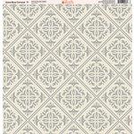 Ella and Viv Paper Company - Slate Blue Damask Collection - 12 x 12 Paper - Eleven