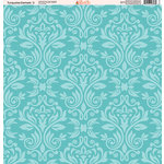 Ella and Viv Paper Company - Turquoise Damask Collection - 12 x 12 Paper - Two