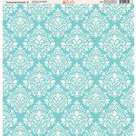 Ella and Viv Paper Company - Turquoise Damask Collection - 12 x 12 Paper - Six