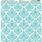 Ella and Viv Paper Company - Turquoise Damask Collection - 12 x 12 Paper - Nine