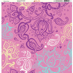 Ella and Viv Paper Company - Pretty Paisley Collection - 12 x 12 Paper - In Bloom Purple