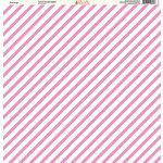 Ella and Viv Paper Company - Pretty Paisley Collection - 12 x 12 Paper - Pink Stripe