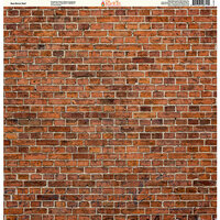 Ella and Viv Paper Company - Brick Backgrounds Collection - 12 x 12 Paper - Red Brick Wall