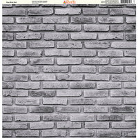 Ella and Viv Paper Company - Brick Backgrounds Collection - 12 x 12 Paper - Gray Brick Wall