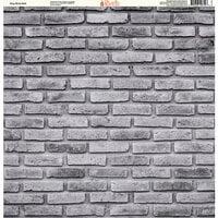 Ella and Viv Paper Company - Brick Backgrounds Collection - 12 x 12 Paper - Gray Brick Wall