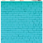 Ella and Viv Paper Company - Brick Backgrounds Collection - 12 x 12 Paper - Blue Brick Wall