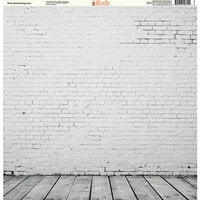 Ella and Viv Paper Company - Brick Backgrounds Collection - 12 x 12 Paper - White Brick Background