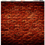 Ella and Viv Paper Company - Brick Backgrounds Collection - 12 x 12 Paper - Deep Red Brick Wall