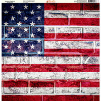 Ella and Viv Paper Company - Brick Backgrounds Collection - 12 x 12 Paper - American Flag Brick Background