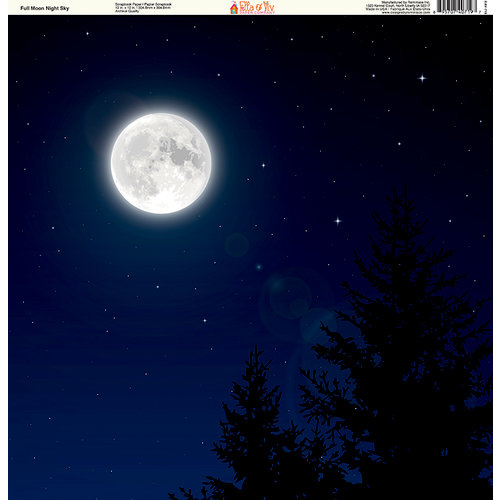 Ella and Viv Paper Company - The Great Outdoors Collection - 12 x 12 Paper - Full Moon Night Sky