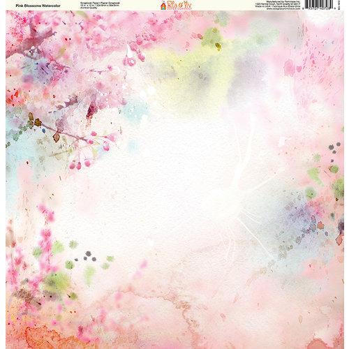 Ella and Viv Paper Company - Watercolor Dreams Collection - 12 x 12 Paper - Pink Blossoms Watercolor