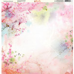 Ella and Viv Paper Company - Watercolor Dreams Collection - 12 x 12 Paper - Pink Blossoms Watercolor