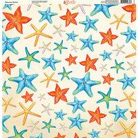 Ella and Viv Paper Company - Watercolor Beach Collection - 12 x 12 Paper - Watercolor Starfish