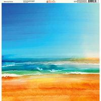 Ella and Viv Paper Company - Watercolor Beach Collection - 12 x 12 Paper - Watercolor Sunset