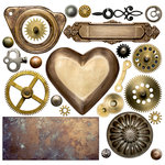 Ella and Viv Paper Company - Adventure Emporium Collection - 12 x 12 Paper - Steampunk Elements