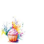 Ella and Viv Paper Company - Watercolor Party Collection - 12 x 12 Paper - Watercolor Cupcake