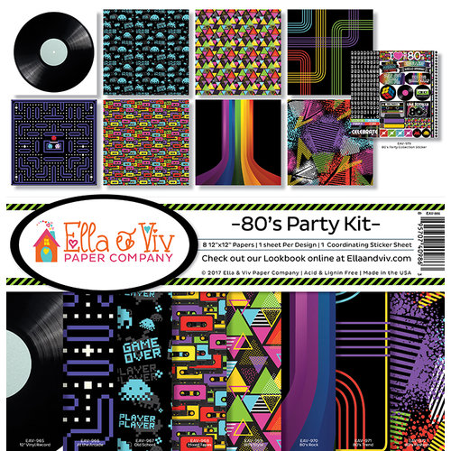 Ella and Viv Paper Company - 80's Party Collection - 12 x 12 Kit