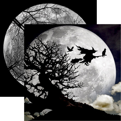 Reminisce - Eerie Night Collection - Halloween - 12 x 12 Double Sided Paper - Full Moon