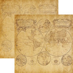 Reminisce - Expedition Destination Collection - 12 x 12 Double Sided Paper - Mappe Monde