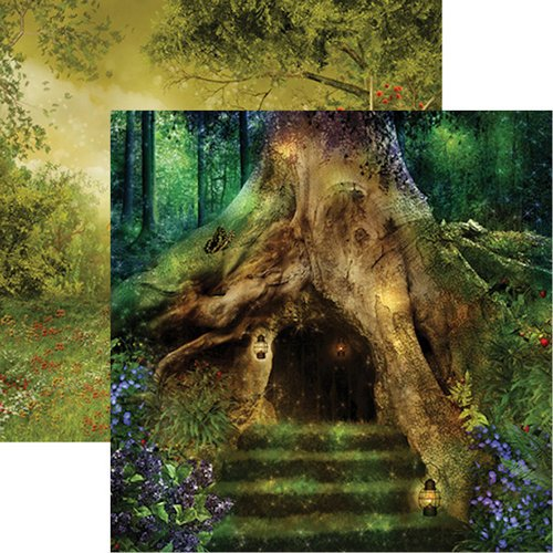 Reminisce - Fairy Forest Collection - 12 x 12 Double Sided Paper - Secret Cottage