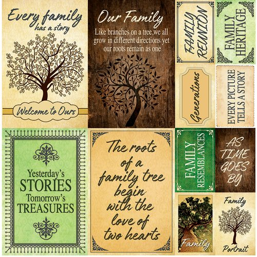 Reminisce - Family Tree Collection - 12 x 12 Cardstock Stickers - Poster
