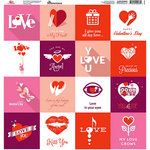 Reminisce - Forever Hearts Collection - 12 x 12 Cardstock Stickers - Square