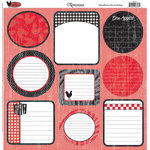 Reminisce - French Kitchen Collection - 12x12 Journaling Cardstock Stickers