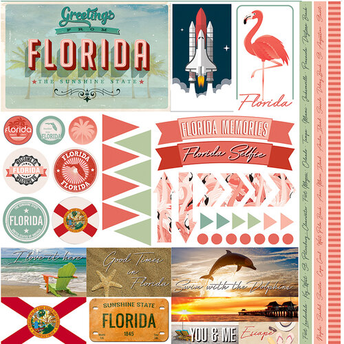 Reminisce - Florida Collection - 12 x 12 Cardstock Stickers