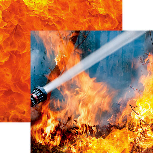 Reminisce - Firefighter Collection - 12 x 12 Double Sided Paper - Wildfire