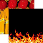 Reminisce - Firefighter Collection - 12 x 12 Double Sided Paper - Flames