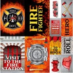 Reminisce - Firefighter Collection - 12 x 12 Cardstock Stickers - Poster