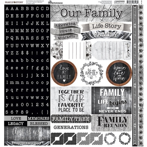 Reminisce - Family Story Collection - 12 x 12 Cardstock Sticker Sheet - Alpha