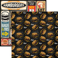 Reminisce - Food Truck Fest Collection - 12 x 12 Double Sided Paper - Burgers