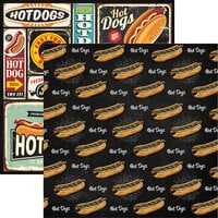 Reminisce - Food Truck Fest Collection - 12 x 12 Double Sided Paper - Hot Dogs