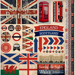Reminisce - Great Britain Collection - 12 x 12 Cardstock Stickers - Elements