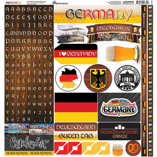 Ella and Viv Paper Company - Germany Collection - 12 x 12 Cardstock Stickers - Elements