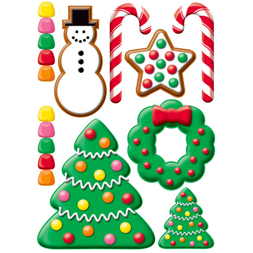 Reminisce - Gingerbread Lane Collection - Christmas - 3 Dimensional Die Cut Stickers - Candy