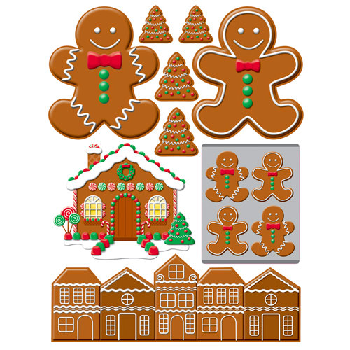 Reminisce - Gingerbread Lane Collection - Christmas - 3 Dimensional Die Cut Stickers - Gingerbread