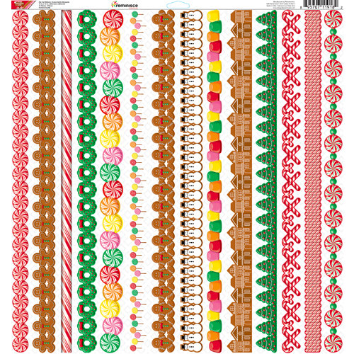 Reminisce - Gingerbread Lane Collection - Christmas - 12 x 12 Cardstock Stickers - Strip