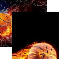 Reminisce - Game Day Basketball Collection - 12 x 12 Double Sided Paper - Basketball on Fire