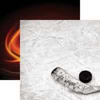 Reminisce - Game Day Hockey Collection - 12 x 12 Double Sided Paper - Puck and Stick