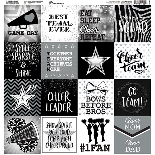 Reminisce - Cheerleading Collection - 12 x 12 Cardstock Sticker Sheet - Squares