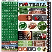 Reminisce - Game Day Football Collection - 12 x 12 Cardstock Sticker Sheet - Alpha
