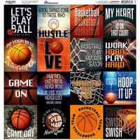 Reminisce - Game Day Basketball Collection - 12 x 12 Cardstock Sticker Sheet - Squares