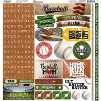 Reminisce - Game Day Baseball Collection - 12 x 12 Cardstock Sticker Sheet - Alpha