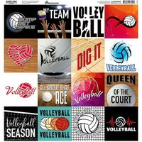 Reminisce - Game Day Volleyball Collection - 12 x 12 Cardstock Sticker Sheet - Squares