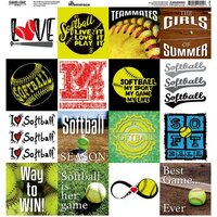 Reminisce - Game Day Softball Collection - 12 x 12 Cardstock Sticker Sheet - Squares
